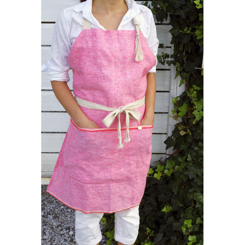 BIG POCKET APRON-PINK LINEN CHAMBRAY