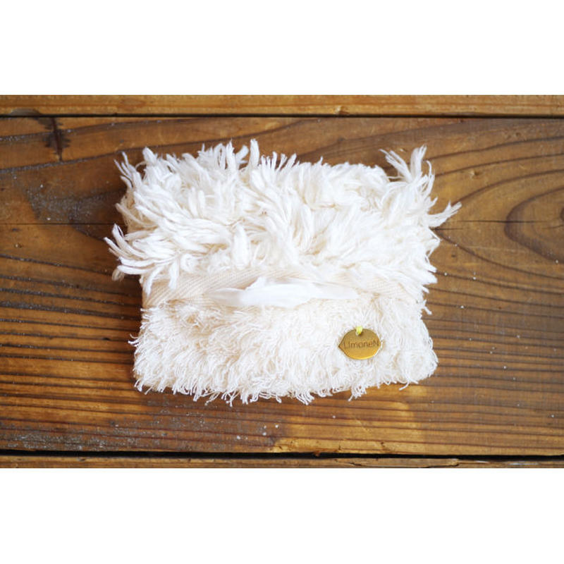 ORGANIC COTTON FUR MIX POCKET TISSUE CASE-A
