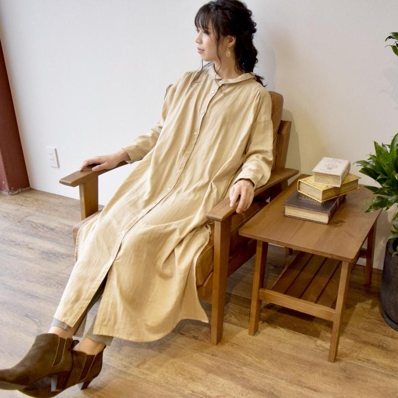 【受注生産】立体裁断で魅せる、こだわり抜いたバックタックデザインシャツワンピース(ふわふわダブルガーゼ・ベージュカラー)