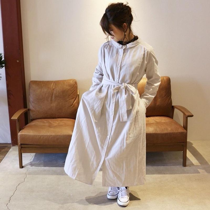 【受注生産】立体裁断で魅せる、こだわり抜いたバックタックデザインシャツワンピース(ふわふわダブルガーゼ・ペールグレー)