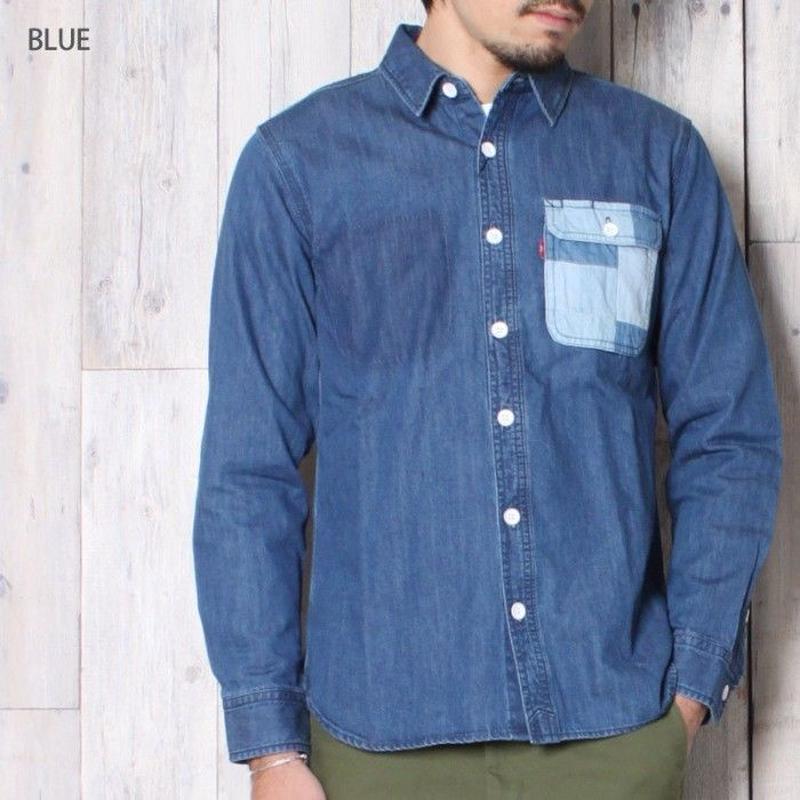 デニムワークシャツ BLUE