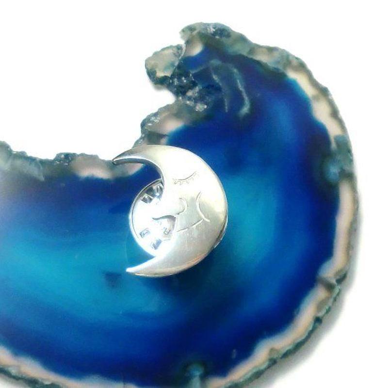 お月様のシルバーピンブローチ