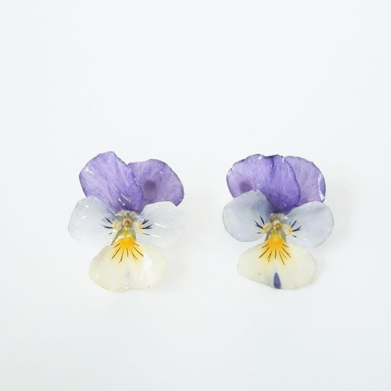 ビオライピアス(purple×white08)