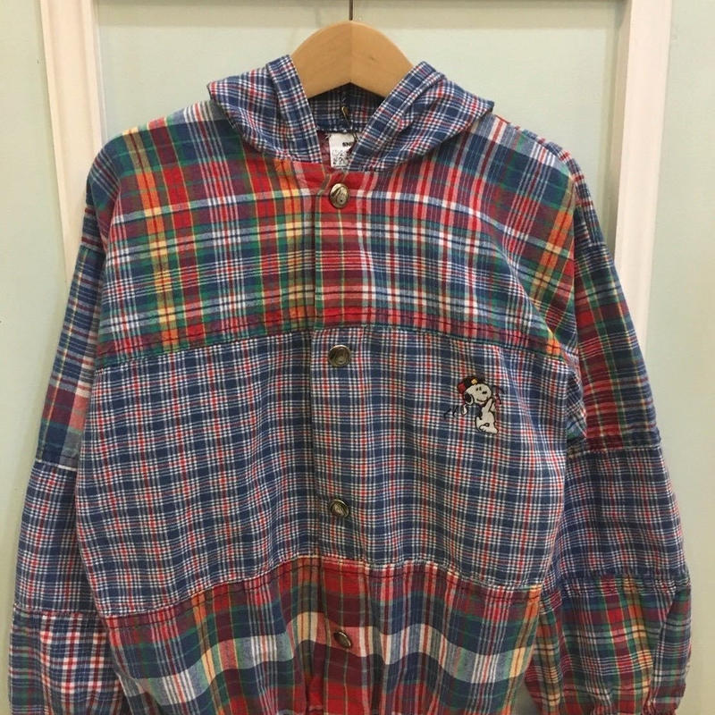 "96.【USED】""SNOOPY"" check cotton jacket (made in U.S.A.)"
