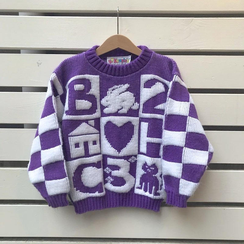 405.【USED】Purple Motif  Knit sweater