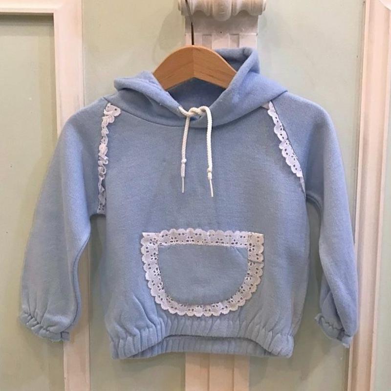 394.【USED】Blue lace Pocket sweat