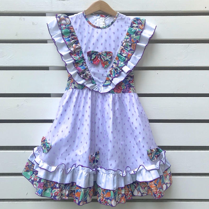 49.【USED】Flower ×Dot Tulle Frill Dress -back ribbon-