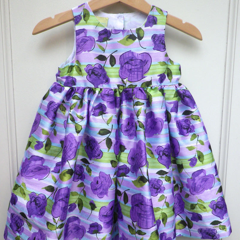 174.【USED】Formal  Purple Flower Print Dress