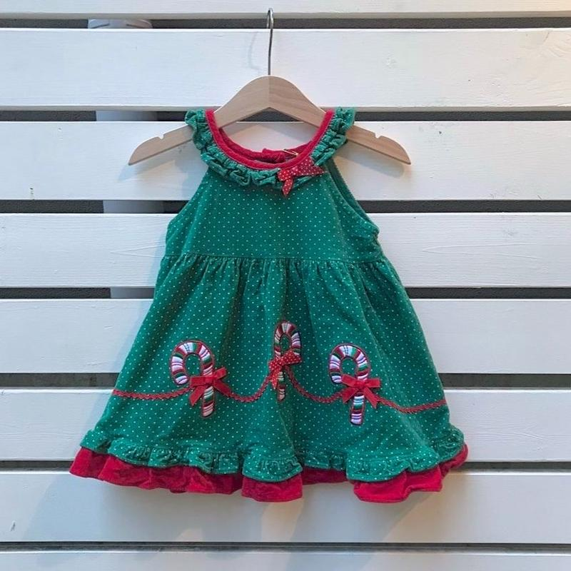 359.【USED】Green Snow Christmas Dress