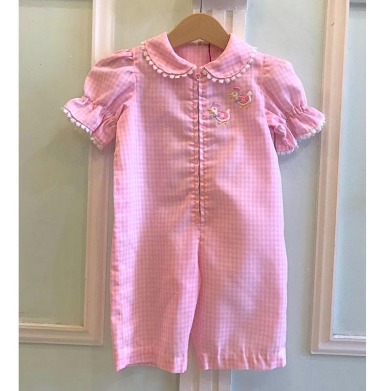 486.【USED】Pink Gingham check Rompers