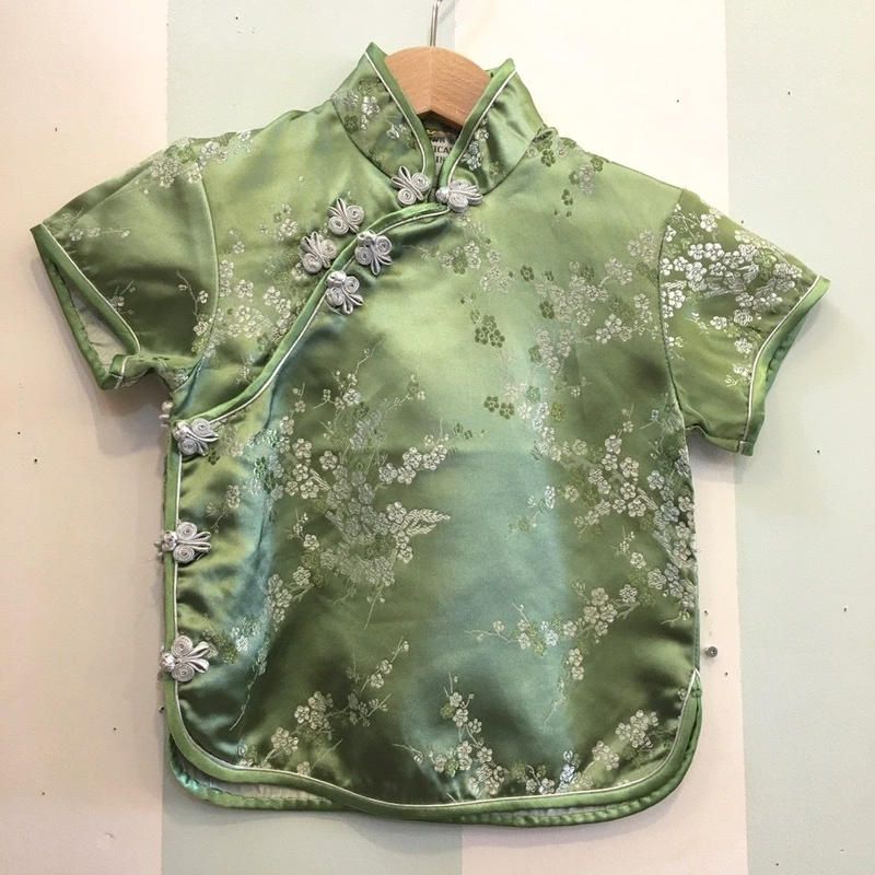 180.【USED】Green China Short Sleeve Shirts