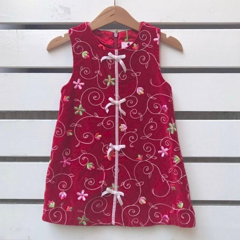 435.【USED】Red  Ribbon China Dress