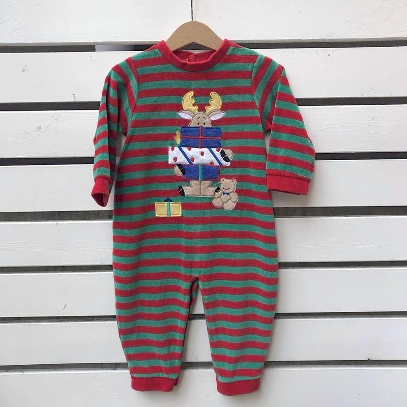 347.【USED】Reindeer Present Rompers(Made in U.S.A.)