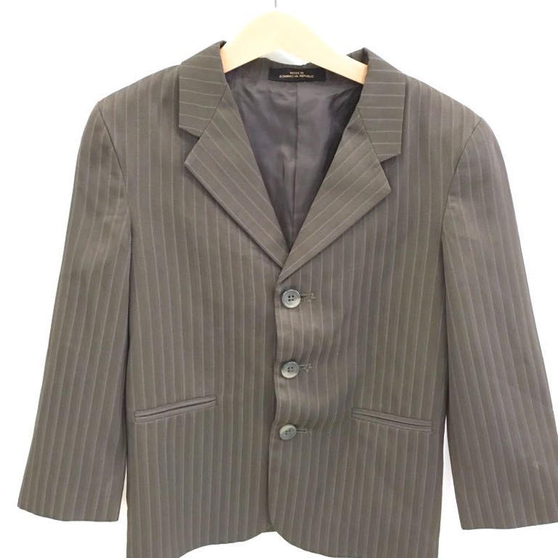 120.【USED】Stripe Gray Brown Blazer