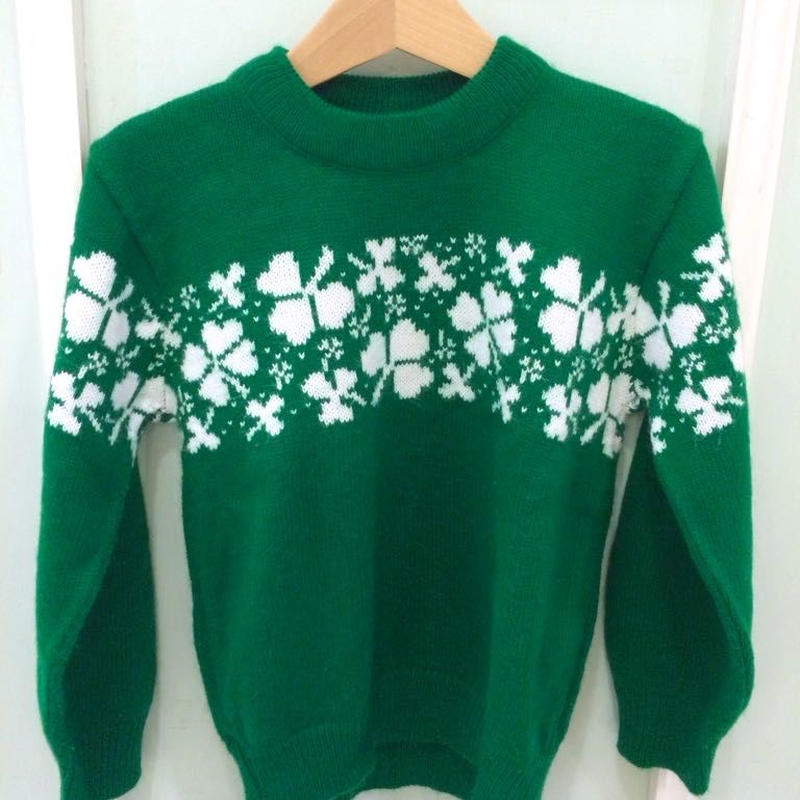 【USED】Clover motif Sweater (Made in U.S.A.)
