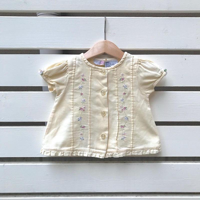 26.【USED】Cream yellow Flower design Blouse