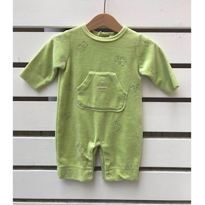 337.【USED Green bear Pocket Rompers