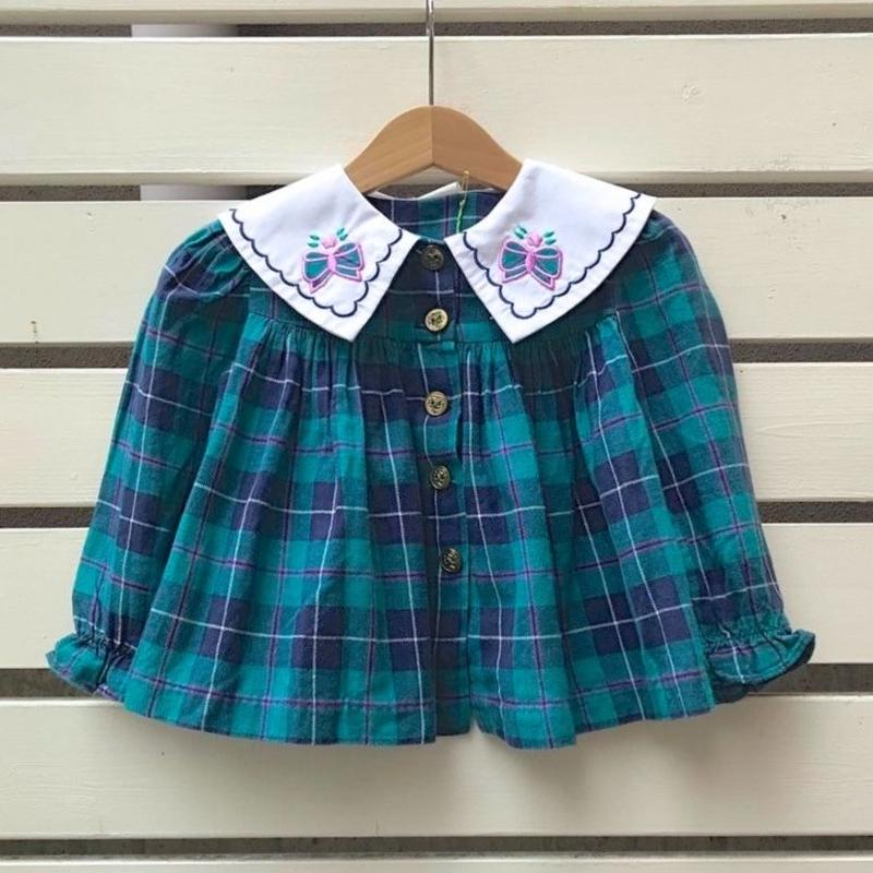 490.【USED】Ribbon Collar Plaid Tops(Made in U.S.A)