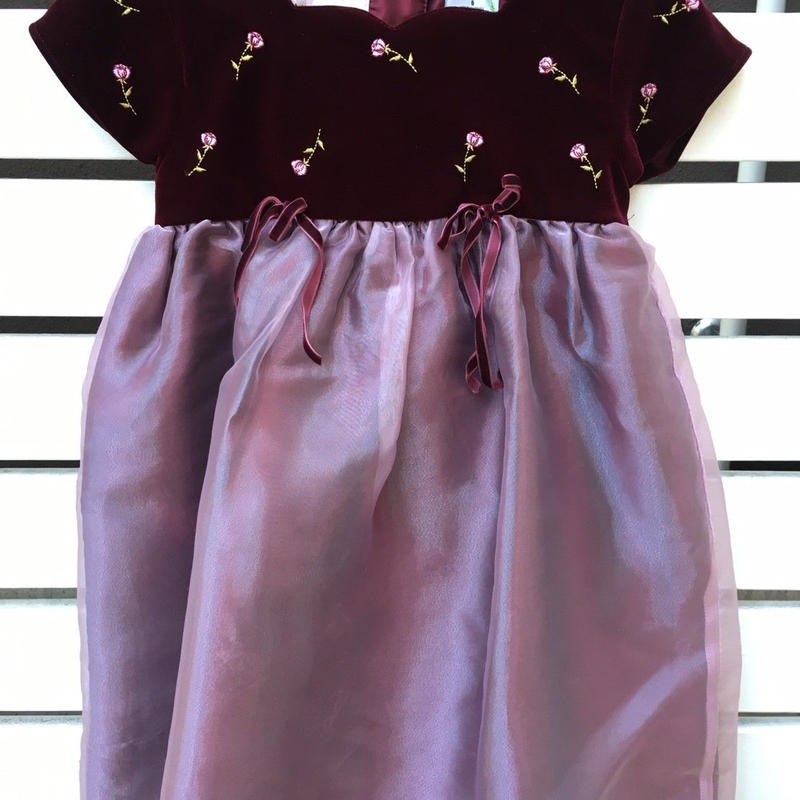271.【USED】Red velvet top Rose motif Dress