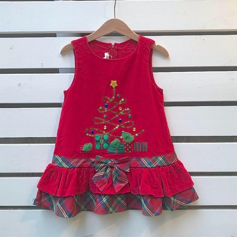 360.【USED】Frill Glitter Christmas tree Dress