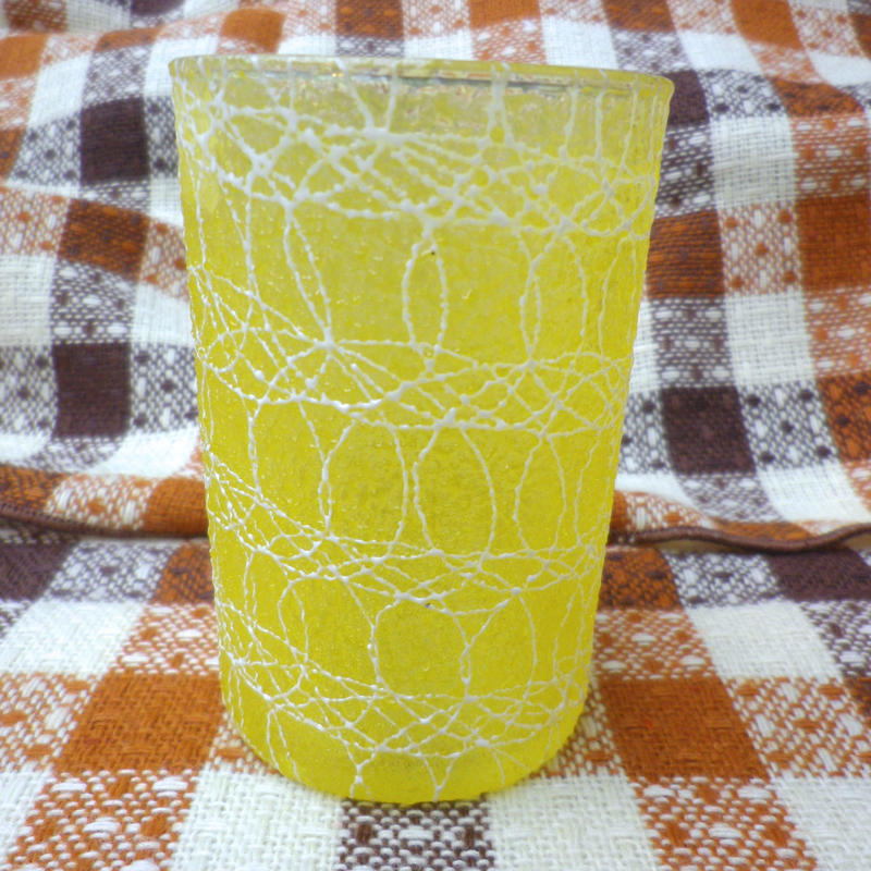 【USED】Vintage 50's Squiggle Small Yellow Glass
