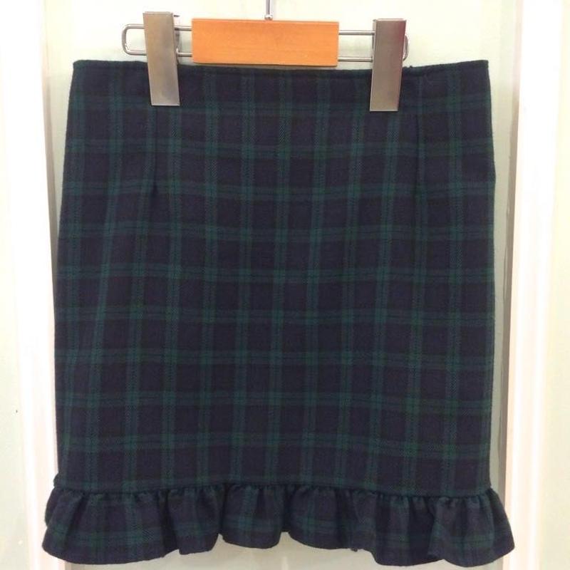 【USED】Green check short skirt