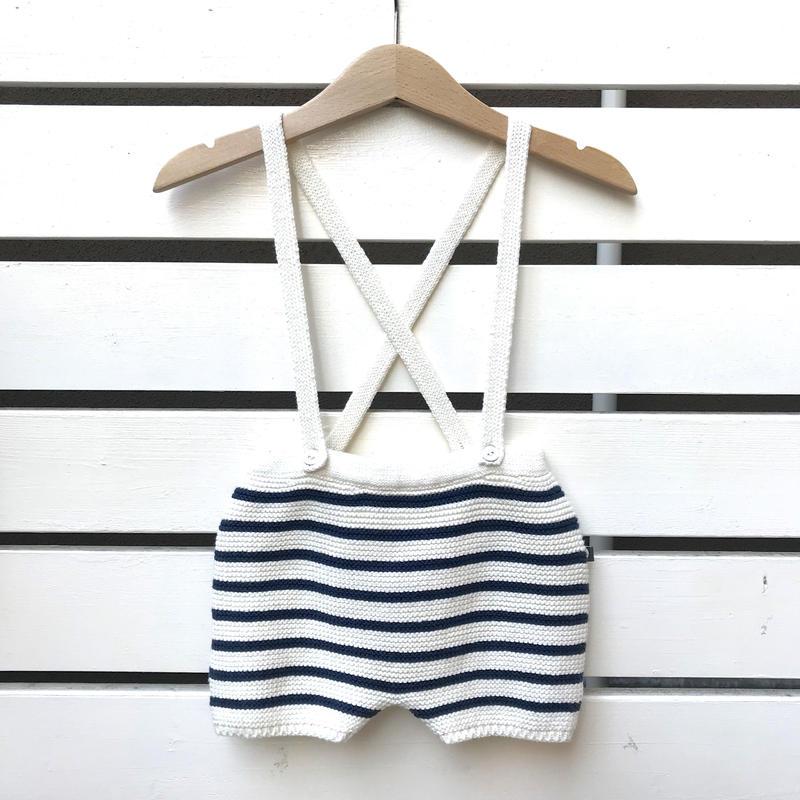 【oeuf】STRIPED SHORTS /  white×dark navy stripes