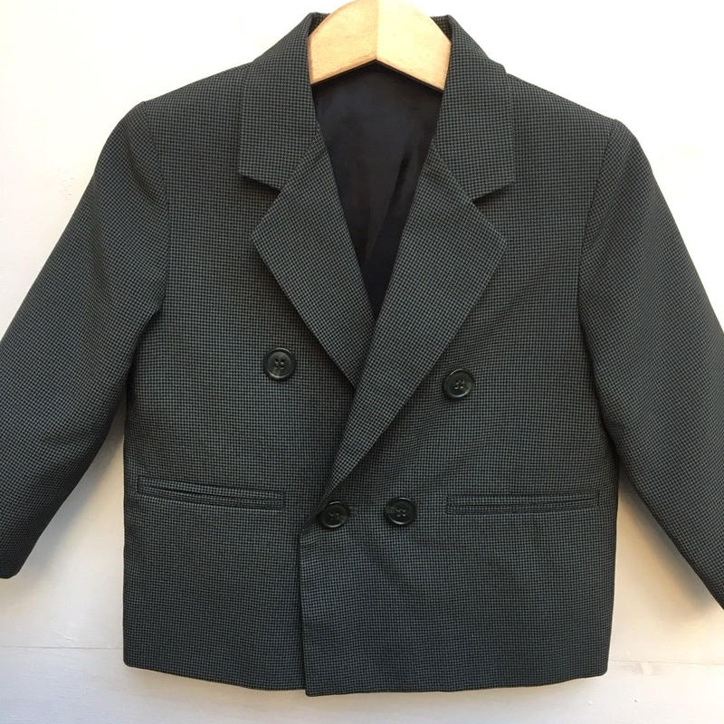 105.【USED】Dark green x Black zigzag pattern double formal jacket