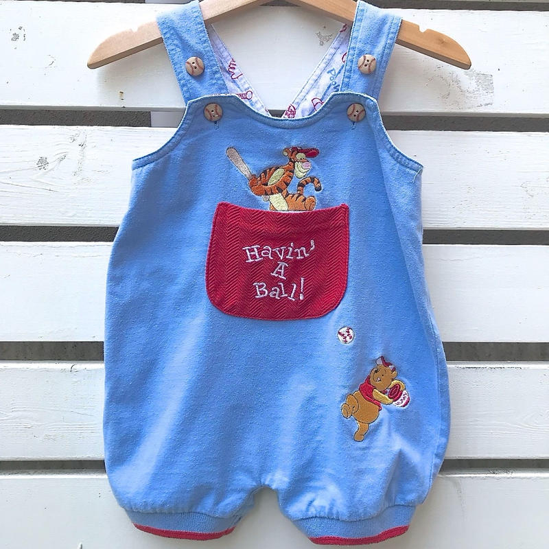 534.【USED】'Pooh' Baseball design Romper