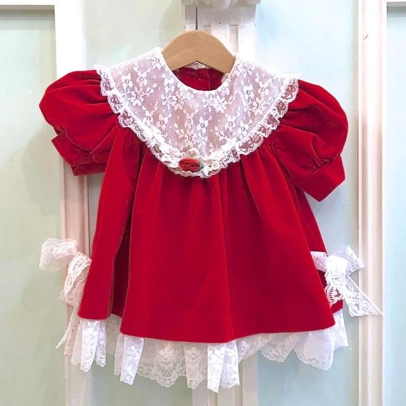 475.【USED】 Lace Collar  Red Dress