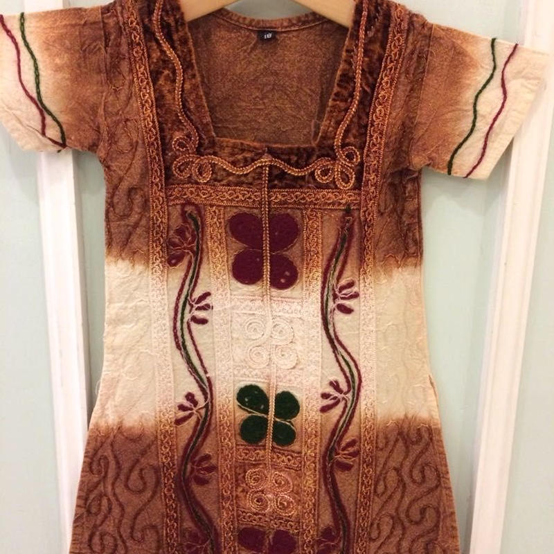 201.【USED】Brown x White Tie dye Dress