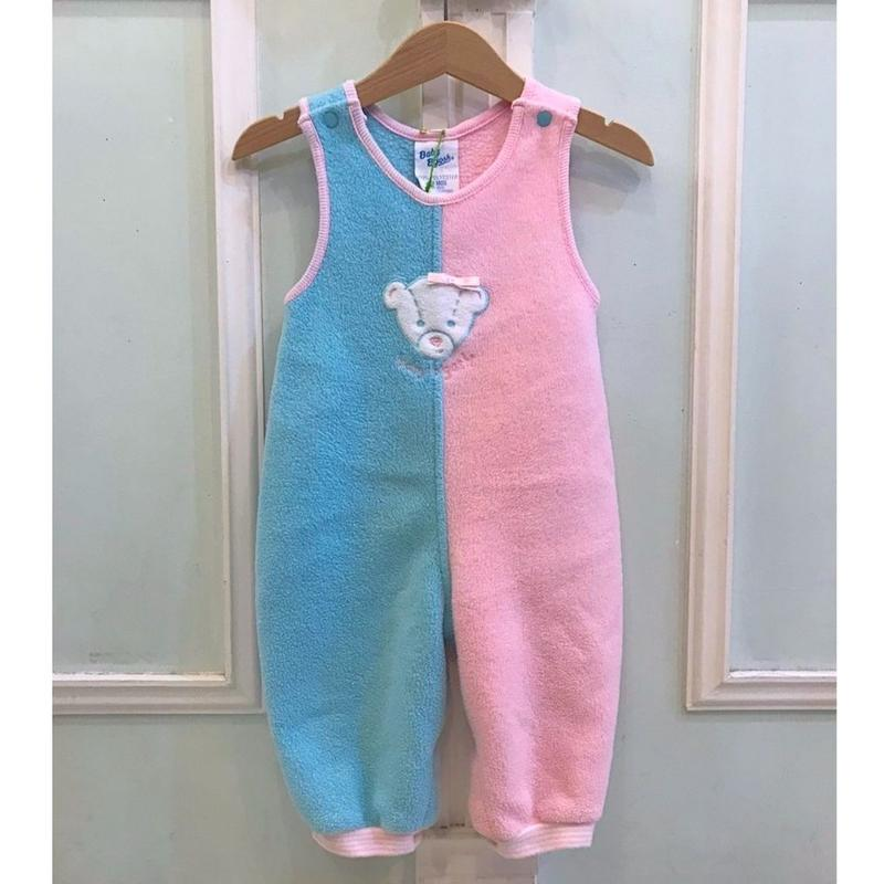 339.【USED】Bear Pink Blue Rompers