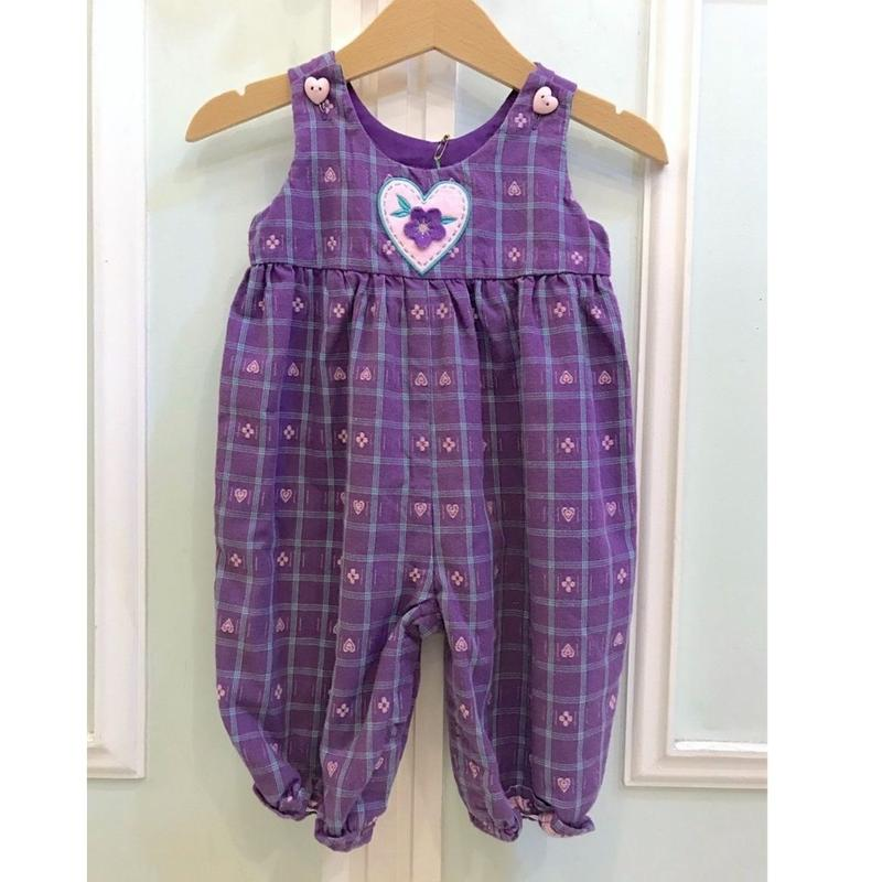 314.【USED】Purple Check Rompers