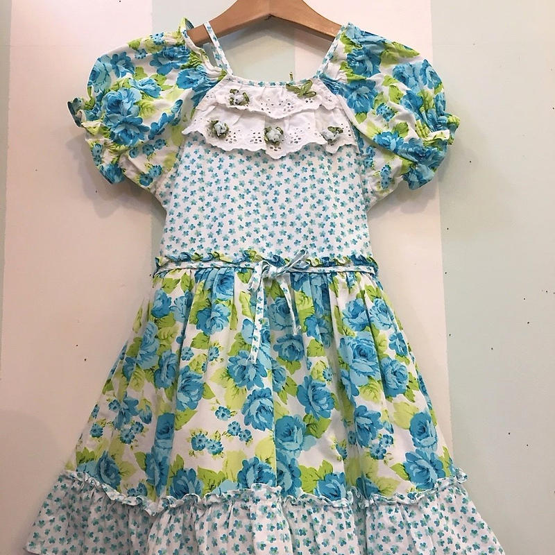 210.【USED】Blue flower print Flare Dress