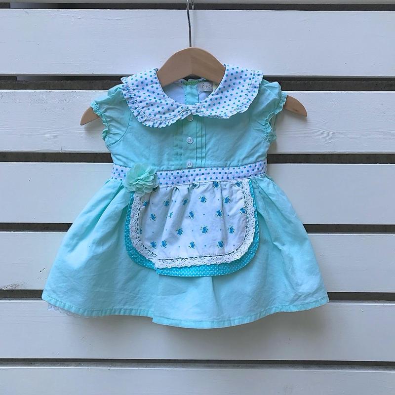 15.【USED】Light blue flower×Dot design Dress