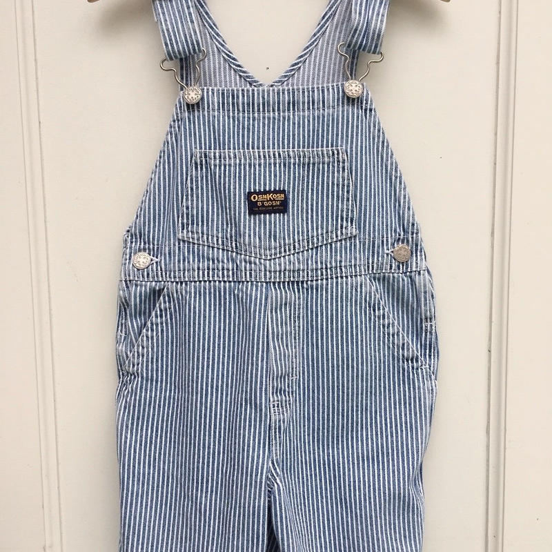 "93.【USED】""OSHKOSH"" Hickory Stripe Short Overall"