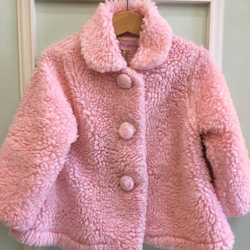 【USED】Pink Boa Outer with Big Button