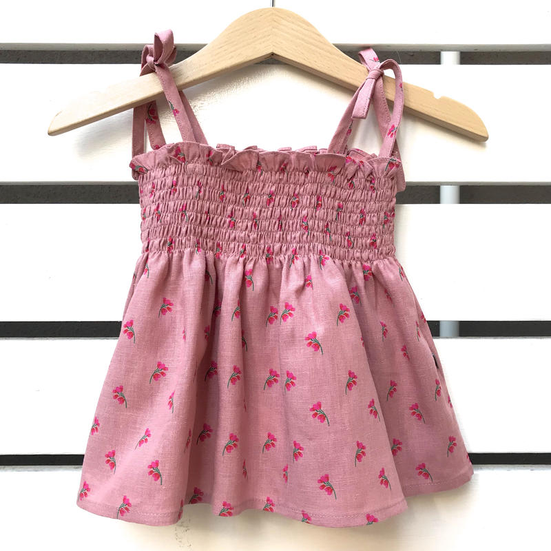 227.【oeuf】TIE STRAP TOP / rose flowers