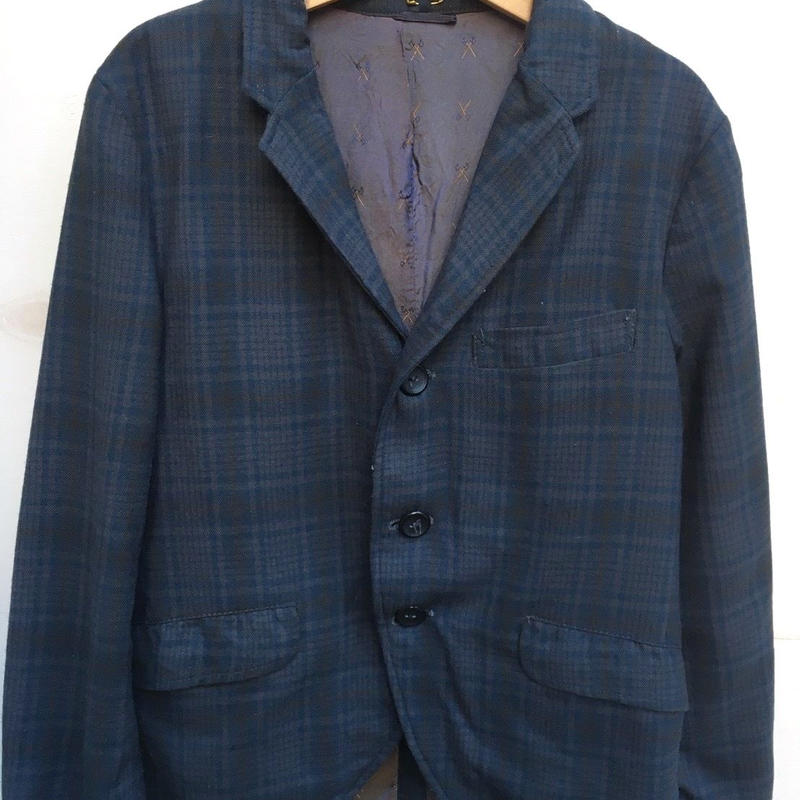 441.【USED】Vintage check print formal jacket