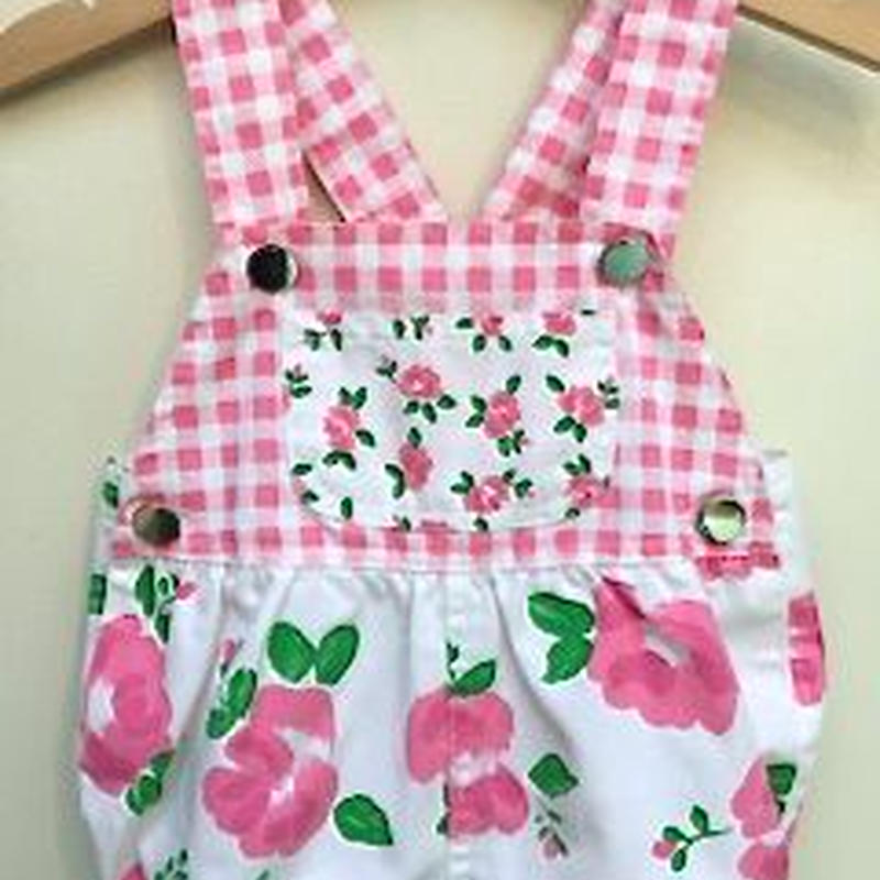【USED】Pink Flower Check Rompers