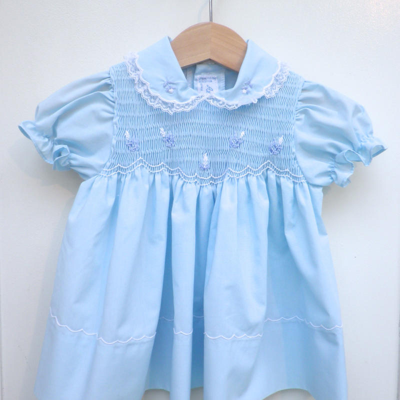 173.【USED】Vintage Flower Motif Light Blue Dress