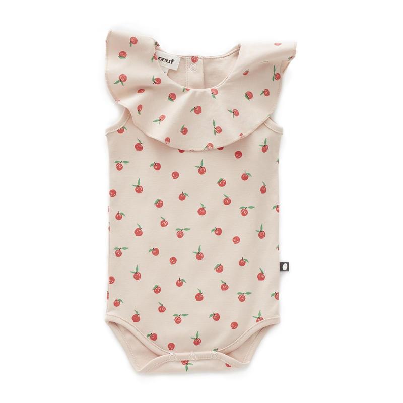 【oeuf】RUFFLE COLLAR ONESIE / lt. pink peaches