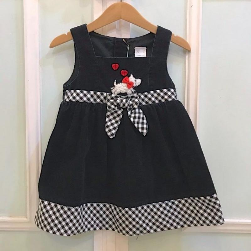 418.【USED】Black×Gingham check  Dress
