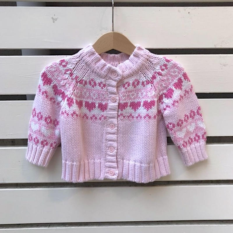 332.【USED】Pink Heart cardigan