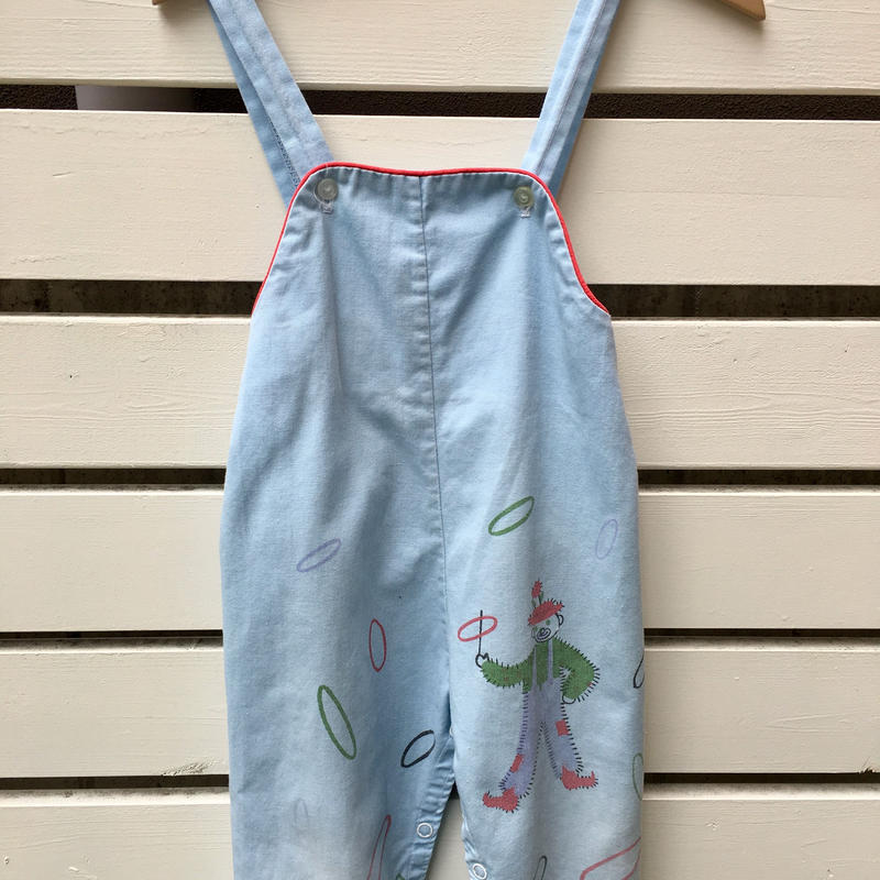 67.【USED】50' Vintage Pierrot with rings print blue Overall (Made in U.S.A.)
