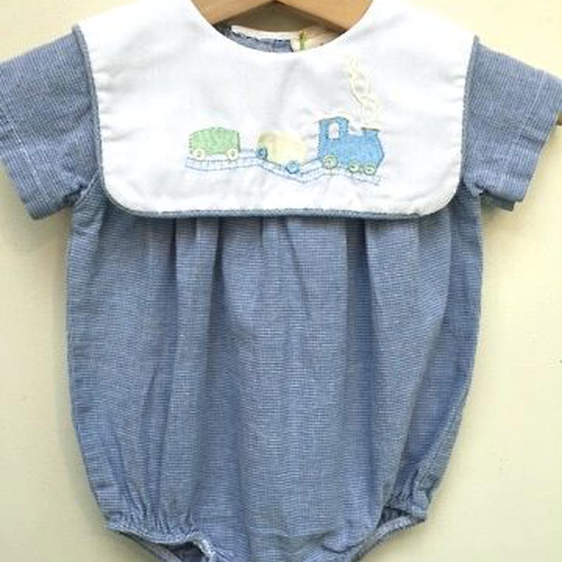 165.【USED】White Collar Blue Train Rompers