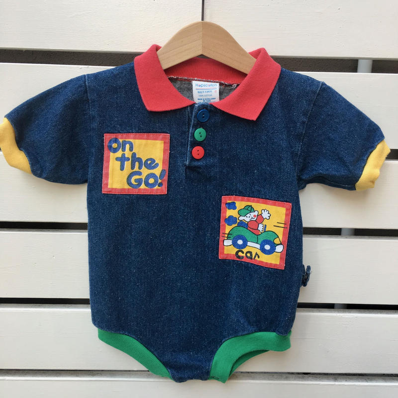 "9.【USED】""ON THE GO!"" Car boy motif Denim short sleeve Rompers"