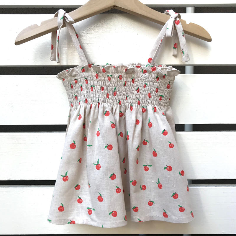 226.【oeuf】TIE STRAP TOP / beige peaches