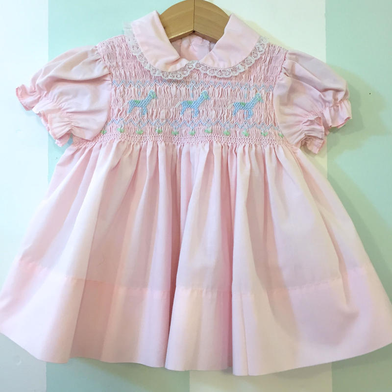 185.【USED】Merry-go-round embroidered pink baby dress