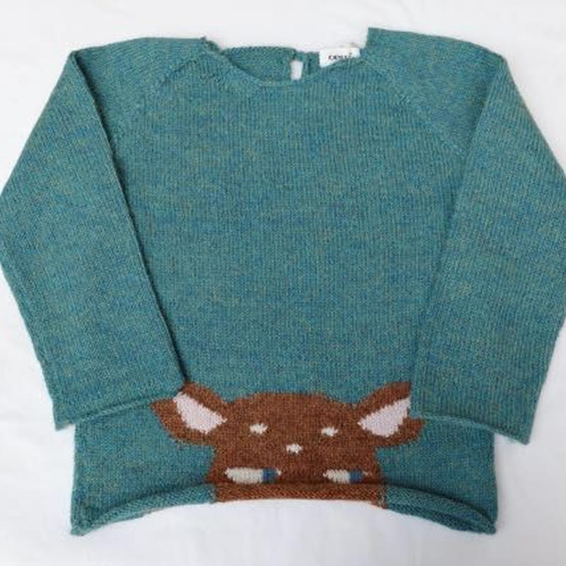 251.【oeuf】Peeking Bambi Sweater /Forest.greens